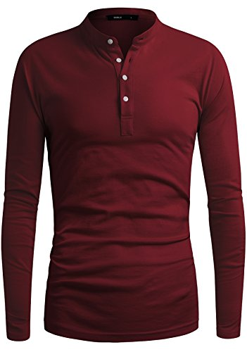 y Style Point Color Design Long Sleeve Casual Henley T Shirt Wine Large (Wine Colour)