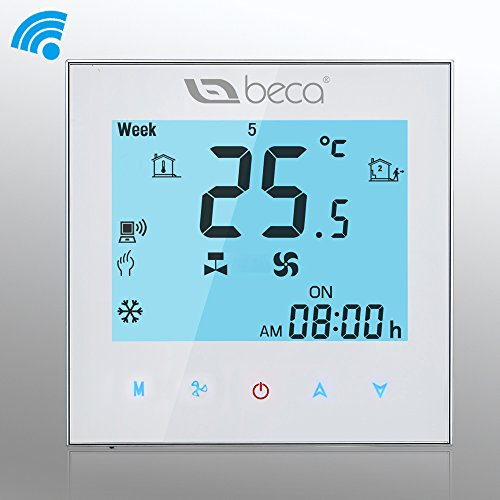 BECA 95~240VAC Four Pipe Heating/Cooling 5+2 Weekly Programmable Fan Coil/FCU/Fan Coil Unit/Central Air Conditioning/HVAC Wi-Fi/Wifi Thermostat NOT FOR HEAT ...