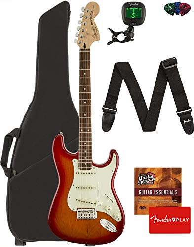 Fender Squier Standard Stratocaster Guitar - Laurel Fingerboard, Cherry Sunburst Bundle with Gig Bag, Tuner, Strap, Picks, and Austin Bazaar Instructional DVD