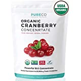 USDA Organic Cranberry Concentrate (50:1) Powder – 500mg is Equivalent to 25,000mg of Fresh Cranberries – For Kidney Cleanse & UTI Support Vitamins – Fruit Extract Supplement – 100 Servings – No Pills