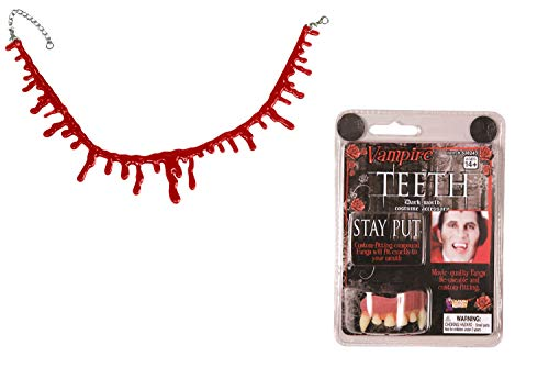 Nicky Bigs Novelties Deluxe Vampire Fangs Bloody Drip Necklace Teeth Dracula Costume Accessory Kit -