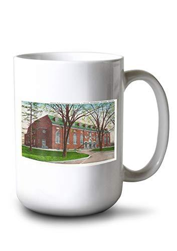 Lantern Press Champaign-Urbana, IL - University of Illinois; Exterior View of The George Huff Gymnasium (15oz White Ceramic Mug)