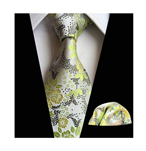 Men Green Silver Silk Cravat Tie Set Jacquard Mint Wedding Holiday Prom Neckwear