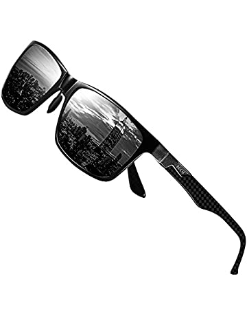 1ca2a7284c DUCO Mens Carbon Fiber Temples with Classic Rectangular Polarised Metal Frame  Sunglasses with Carbon Fiber Temples