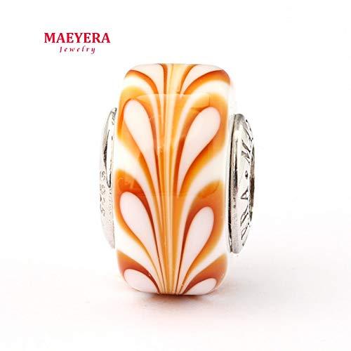 Calvas Authentic 925 Sterling Silver Lampwork Beads Barrel Beads Murano Glass Beads Fit European Charm Bracelet 920294