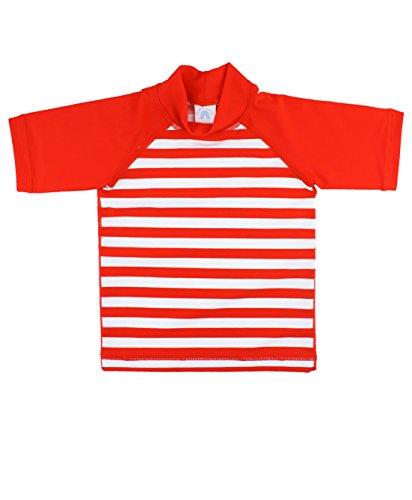 RuggedButts Baby/Toddler Boys Red and White Stripe Sun Protective Rash Guard Swim Shirt - 3-6m