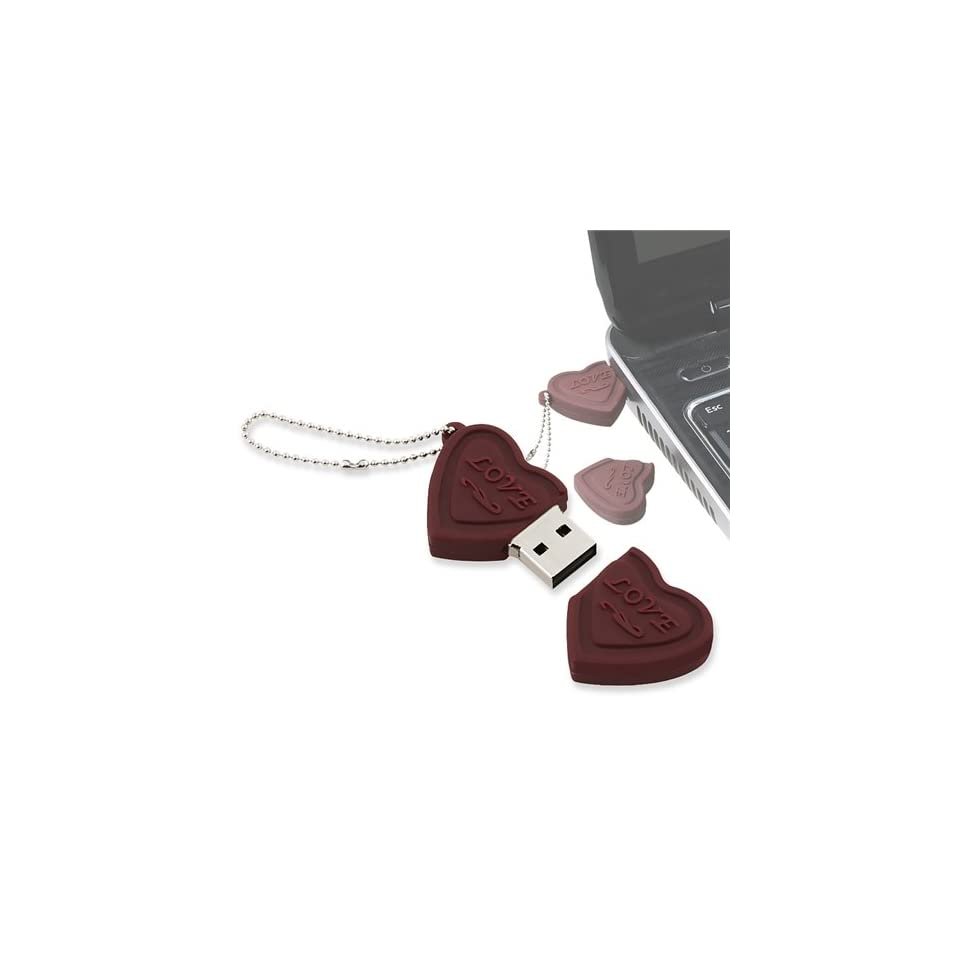 eForCity Valentines Day Gift   Chocolate Brown Love Heart Shape USB Flash Drive, 4GB