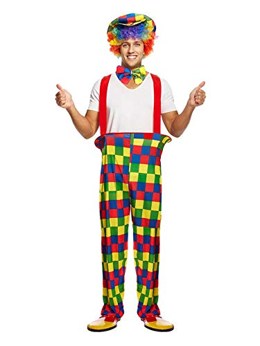 MA ONLINE Adults Rainbow Clown Outfit Mens Multicolored Fancy Dress Party Wear Costume One Size