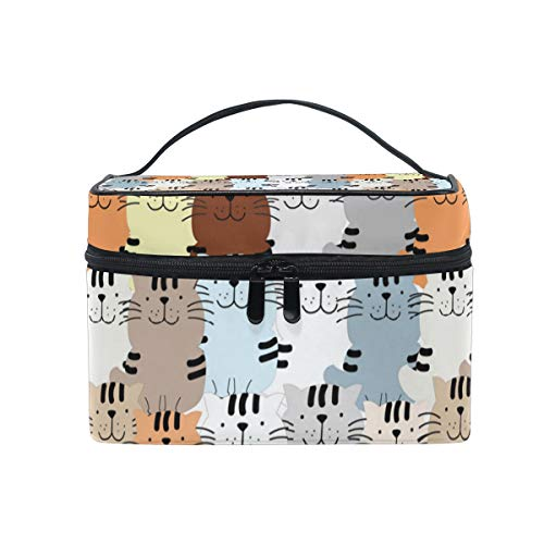 Makeup Bag Cute Cat Kitty Kitten Cartoon Cosmetic Case Portable Carry Travel Toiletry Bag Toiletry Bags for Womens Storage -