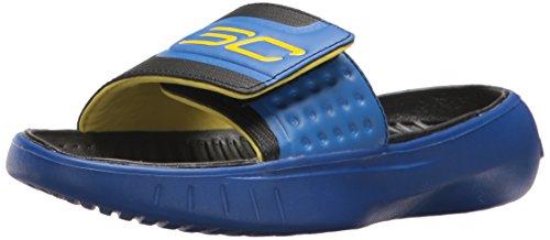 Under Armour Boys' Curry 4 Slides Sandal, Team Royal (400)/Black, 6 (Under Armour Slide Sandals Youth)