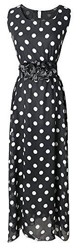 VonFon Womens Vogue Sleevelss Polka Dot Evening Party Maxi Long Dress