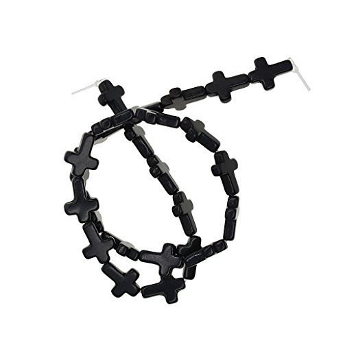 Black Strand Cross - Homyl 1 Strand Turquoise Carving Cross Smooth Gemstone Loose Spacer Beads Crafts - Black