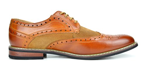8de5a21241b4e Bruno MARC PRINCE-09 Men's Oxford Modern Classic Brogue Wing-Tip Lace Up  Leather