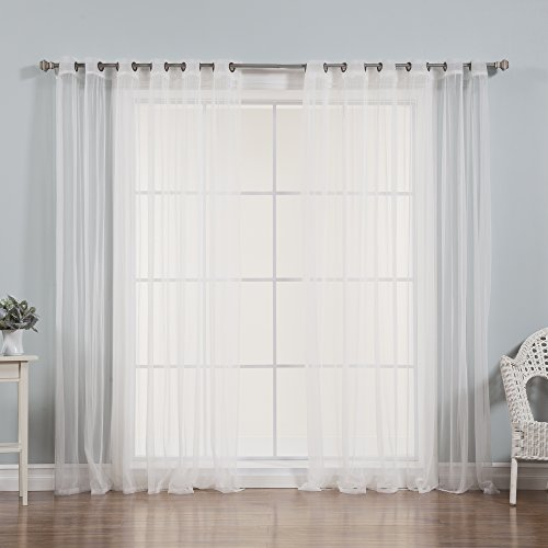 Best Home Fashion Wide Width Tulle Sheer Lace Curtains - Antique Bronze Grommet Top - White - 80
