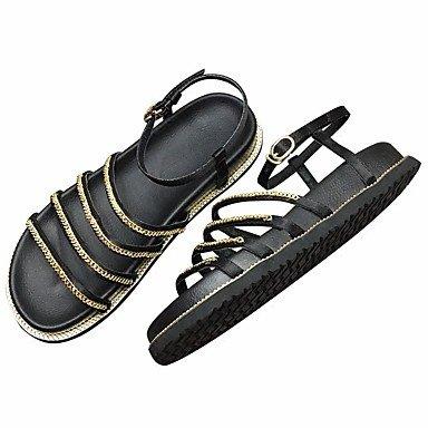 SHOES-XJIH&Gli uomini del foro di sandali scarpe PU esterna di estate tacco piatto Khaki Nero Marrone sotto 1a,marrone,US8 / EU40 / UK7 / CN41