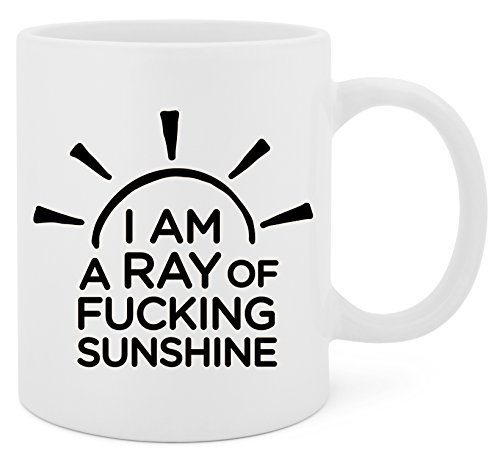 - I'm A Ray Of Fucking Sunshine - 11 Oz White Ceramic Glossy Mug With Large C-handle (Microwave and Dishwasher Safe)