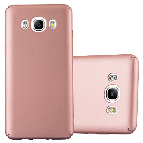 Cadorabo Case Works with Samsung Galaxy J5 2016 in Metal ROSÉ Gold - Shockproof and Scratch Resistent Plastic Hard Cover - Ultra Slim Protective Shell Bumper Back Skin
