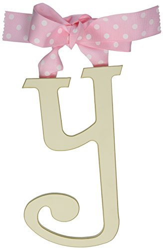 - New Arrivals Wooden Letter Y with Pink Polka Dot Ribbon, Cream