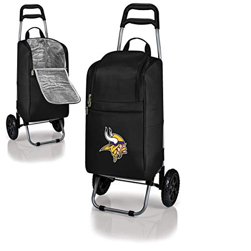MISC 2 Piece Black Yellow NFL Themed Cart Cooler, Minnesota Vikings Beer Bag, Purple White NFC Folding Trolley Portable Ultra Durable Football Logo Gift Tailgate Beverage Bag, Polyester ()