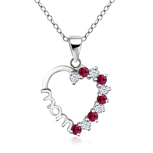 Created Sapphire Pendant (Sterling Silver Created White Sapphire Created Ruby Heart MOM Pendant 18