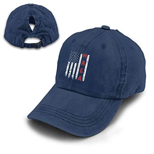 Great Again MAGA Vintage Adjustable Baseball Cap Denim Dad Hat (One Size, Ponytail Navy) ()