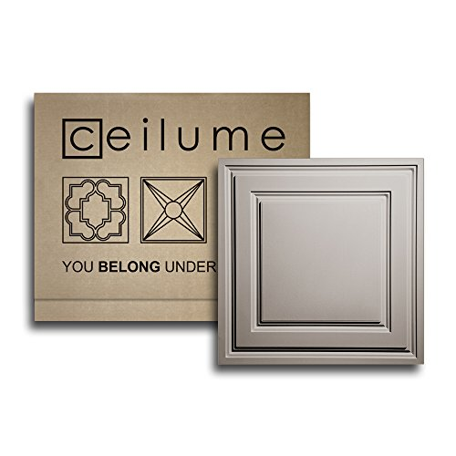 "Ceilume 12 pc Stratford Ultra-Thin Feather-Light 2x2 Lay in Ceiling Tiles - for Use in 1"" T-Bar Ceiling Grid - Drop Ceiling Tiles (Latte)"