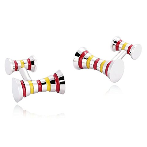 Gnzoe Men Stainless Steel Red Yellow Barbell Curved Formal Shirt Cufflinks with Gift Box