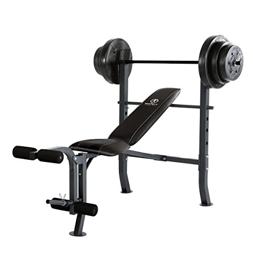 (Marcy MD-2082W Diamond Elite MD Standard Bench with 100 lb. Weight Set)