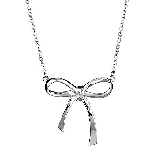 Sterling Forever - .925 Sterling Silver Bow Necklace (Bow Silver Necklace)