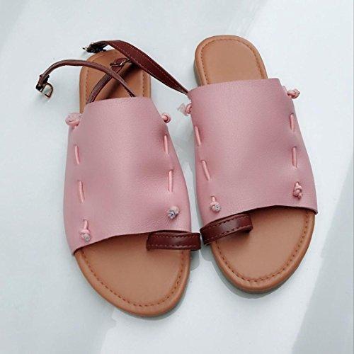 HUHU833 Summer Women Flat-Bottomed Roman Open Ankle Flat Straps Platform Wedges Sandals Pink MO27bjk3I