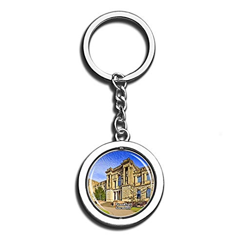 Frankfurt Staedel Museum Germany Beauty 3D Crystal Creative Keychain Spinning Round Stainless Steel Key Chain Ring Travel City Souvenir Collection