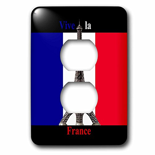 2 Travel - France - Vive la France Eiffel Towel in the French Flag - Light Switch Covers - 2 plug outlet cover (lsp_233596_6) by 3dRose
