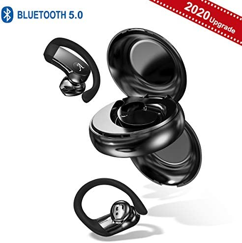 Wireless Earbuds with Earhooks, Bluetooth 5.0 Headset for Sports, HiFi Half in-Ear Earphones, CVC 8.0 Noise-Canceling Headphones with Charging Case, Built-in Mic, Sweatproof, 40-Hour Playtime Black
