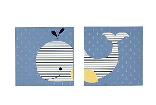 Nautica Kids Brody 2 Piece Canvas Wall Decor, Nautical/Whale, Navy/Light Blue/Royal/Yellow by Nautica
