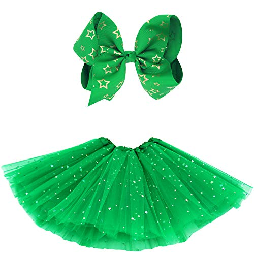 BGFKS 5 Layered Tulle Tutu Skirt for Girls with Hairbow and Hairties, Ballet Dressing Up Kid Tutu Skirt (Star-Green, 2-8 Years Old)]()