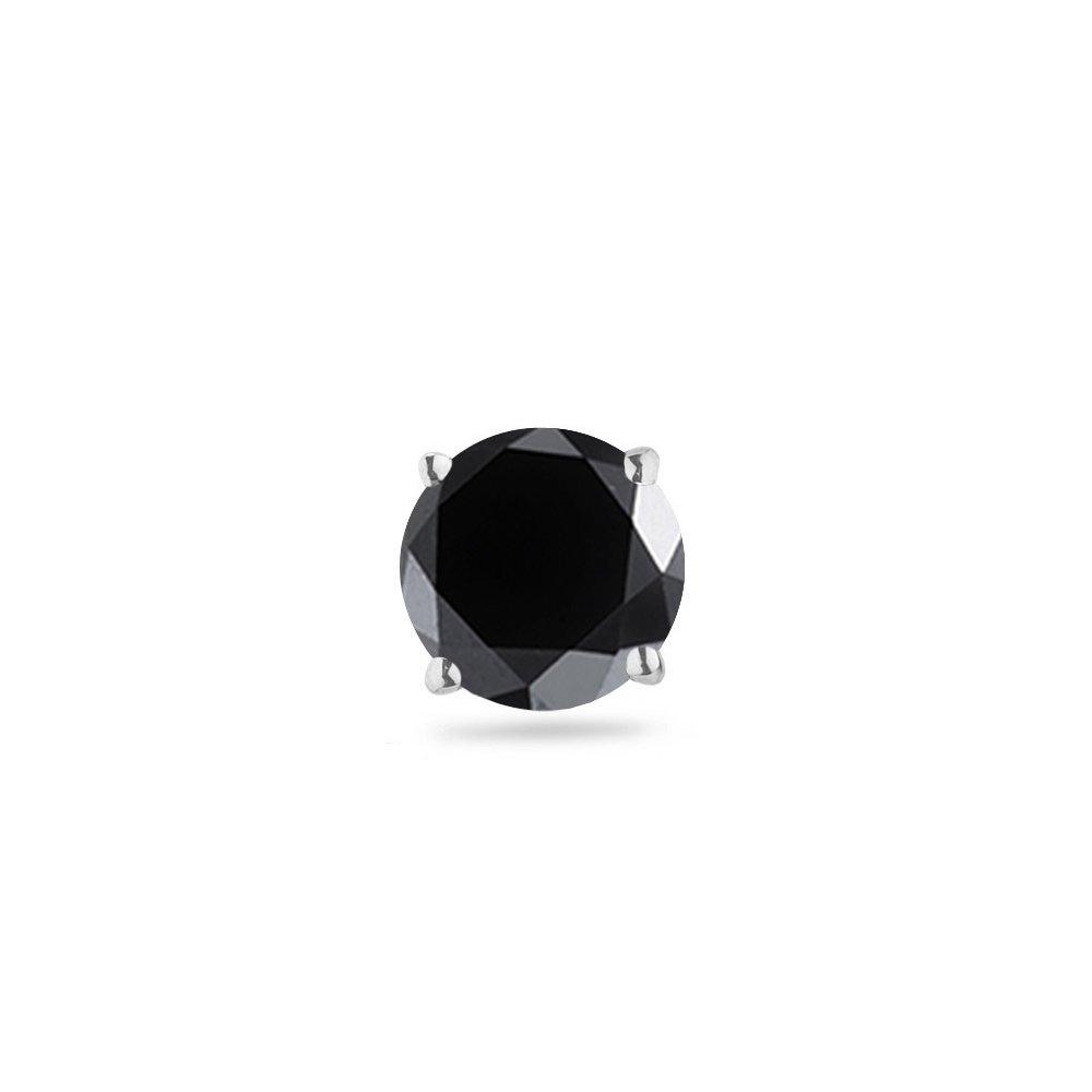3/8 Ct of 3.50-4.00 mm AAA Round Black Diamond Men's Stud -14K White Gold - Valentine's Day Sale