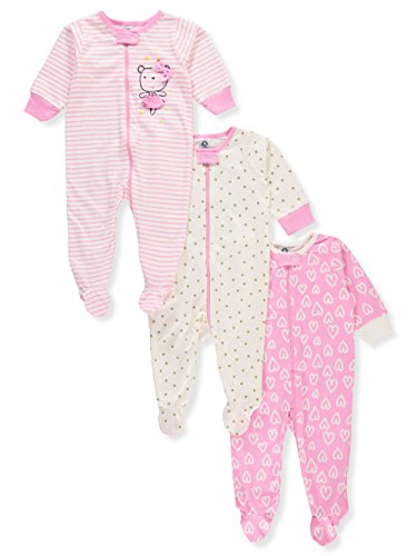 Gerber Onesies Baby Girl Sleep N Play Sleepers 3 Pack (Newborn, ()