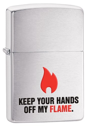 Zippo Flame Lighter, Brushed Chrome