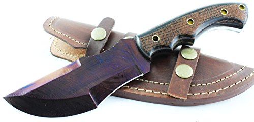 Moorhaus Unique Colored Raindrop Blade with Black and Blue Handle Handmade Damascus Bushcraft Tactical Tracker with Leather Sheath by Moorhaus