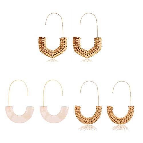 MOLOCH Acrylic Earrings Statement Tortoise Hoop Earrings Resin Wire Drop Dangle Earrings Fashion Jewelry for Women (3pairs)