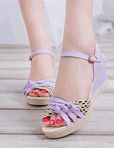 ShangYi Sandaletten für Damen Damenschuhe-Sandalen-Lässig-Kunstleder-Keilabsatz-Wedges-Schwarz / Blau / Lila Black