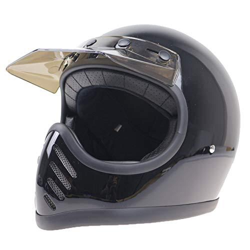 Evin Full Coverage Glass Fire Helmet, Motorcycle Helmet Retro Season Universal Heavy Duty Locomotive Male Fiberglass Unisex,Black,XXL