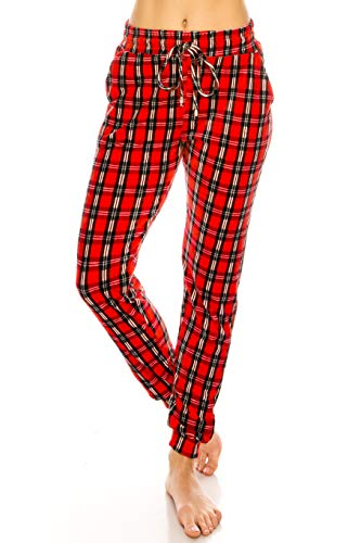 ALWAYS Women Velvet Joggers - Premium Soft Velour Stretch Warm Winter Checkered Christmas Printed Patterned Sweatpants Pants SM Size, 5291 /Plaid
