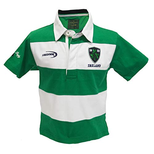 (Traditional Craft Limited Emerald/White Stripe Ireland Short Sleeve Kids Rugby Shirt (9/10))