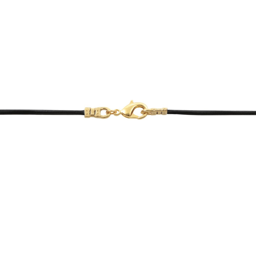 Gold Plated 1.8mm Fine Black Leather Cord Necklace - 24 inches by DragonWeave (Image #3)