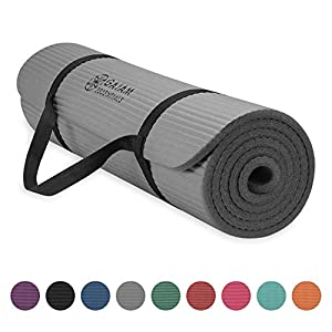 Gaiam Essentials Thick Yoga Mat Fitness & Exercise Mat with Easy-Cinch Yoga Mat Carrier Strap (72″L x 24″W x 2/5 Inch Thick)
