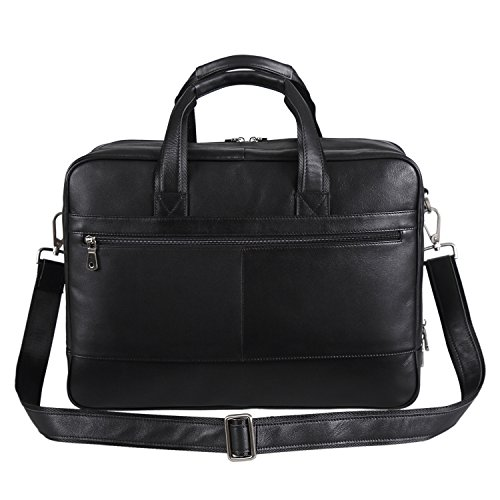 Polare Real Soft Nappa Leather 17 Laptop Case Professional Briefcase Business Bag For Men (Black) by Polare (Image #3)