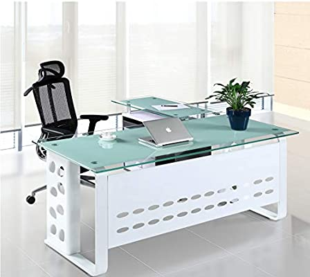 Grupo SDM Mesa Oficina Escritorio Mueble a Izquierda, Cristal ...