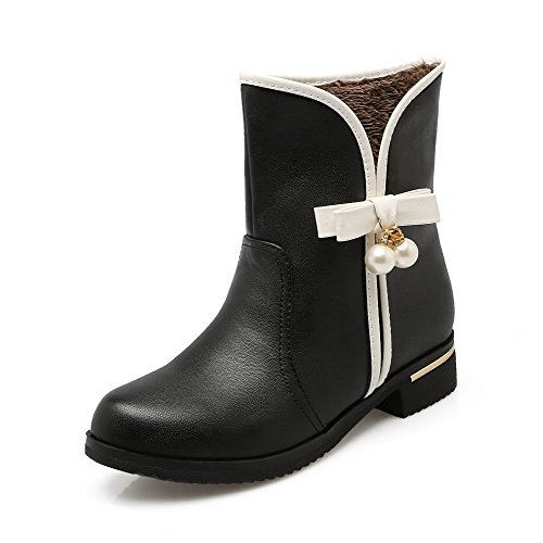 AgooLar Women's Pull-On Round Closed Toe Low-Heels PU Low-Top Boots Black