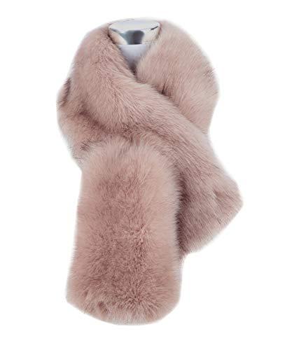 Saferin Falso invierno abrigo de la bufanda de piel sintetica de las mujeres para boda (Rosa oscuro)